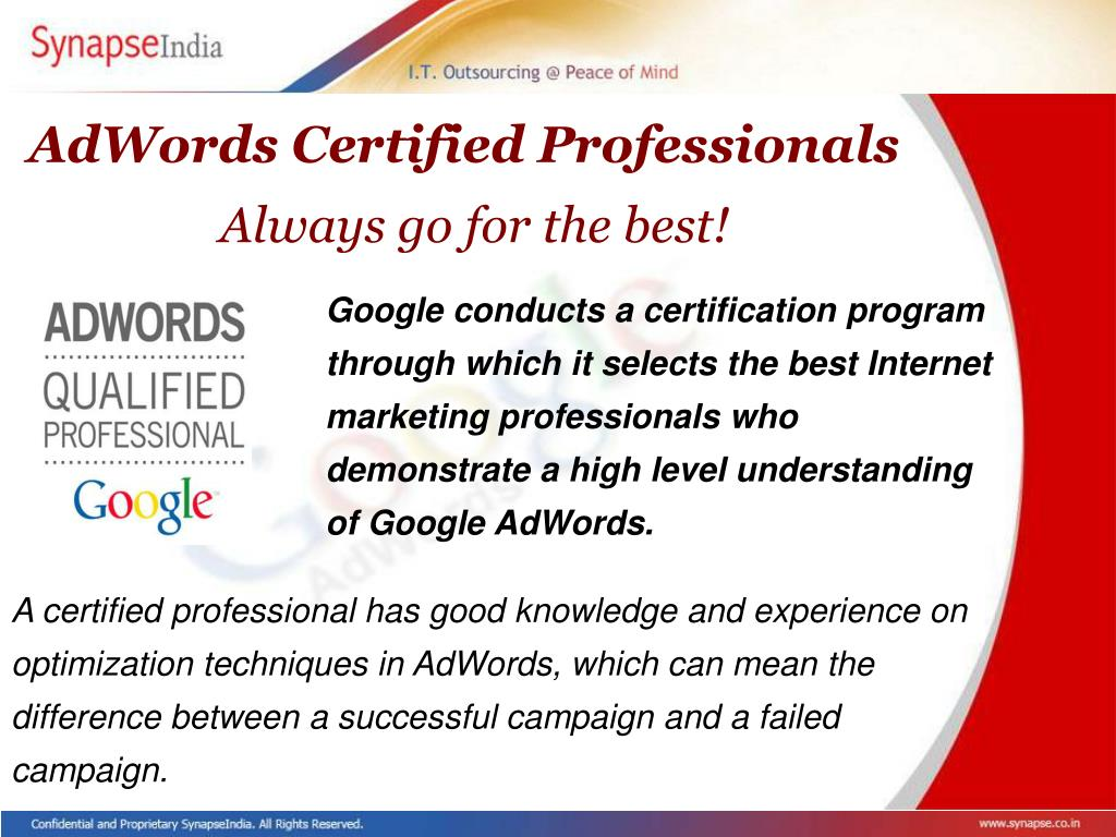 AdWords Certified Professionals