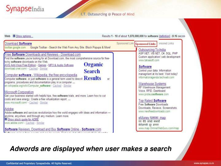 Adwords are displayed when user makes a search