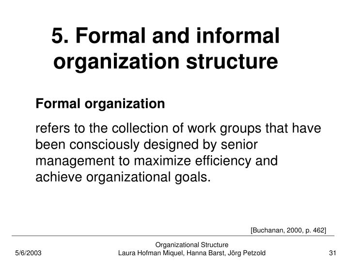 5. Formal and informal organization structure