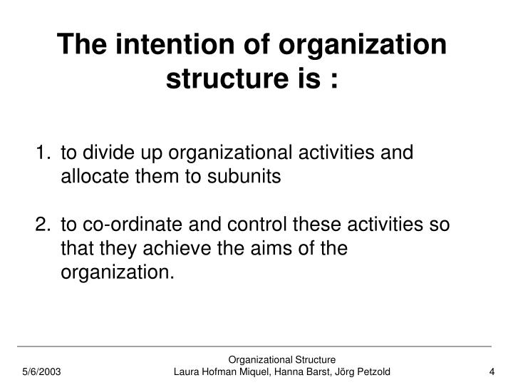 The intention of organization structure is :