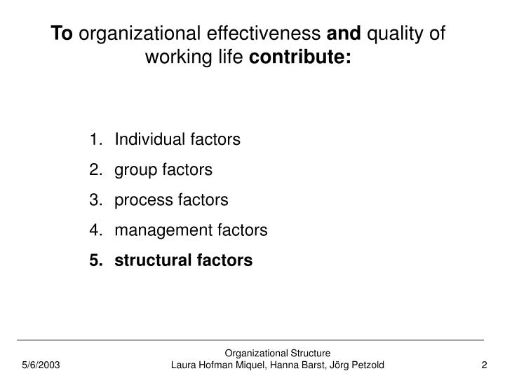 To organizational effectiveness and quality of working life contribute