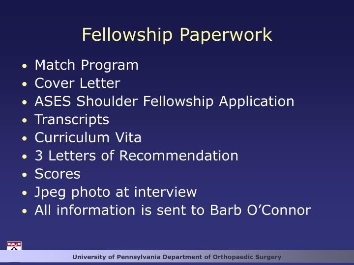 Fellowship Paperwork