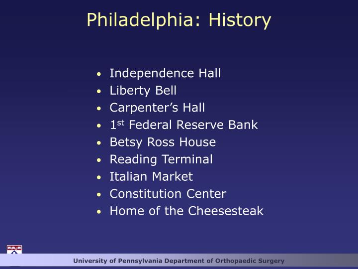 Philadelphia: History
