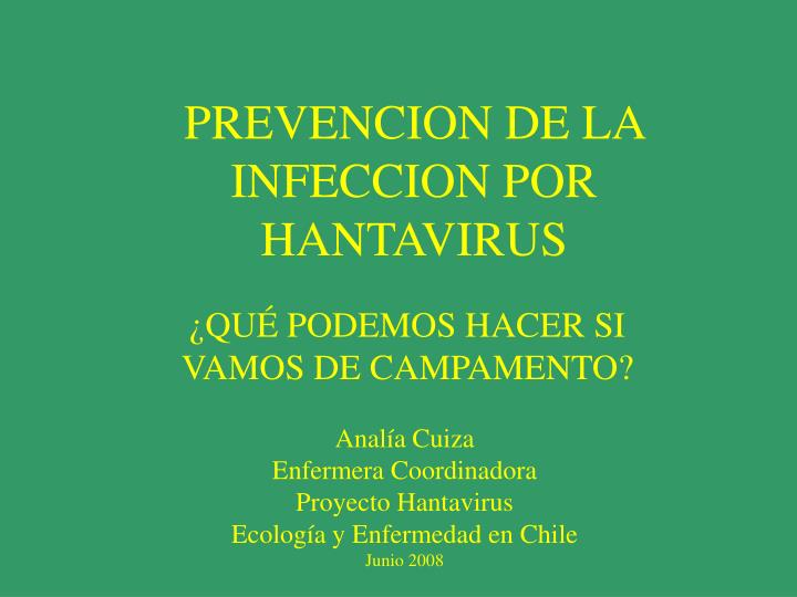 Prevencion de la infeccion por hantavirus
