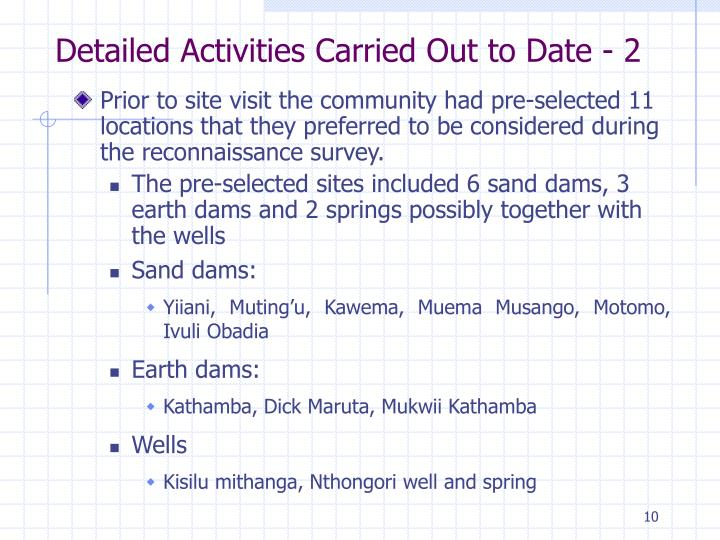 Detailed Activities Carried Out to Date - 2