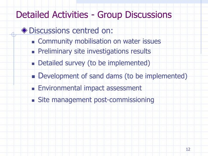 Detailed Activities - Group Discussions