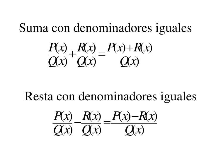 Suma con denominadores iguales