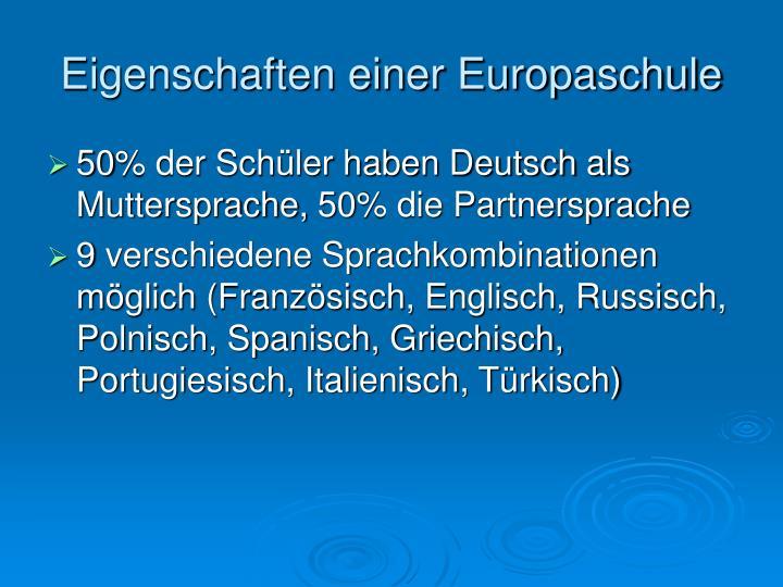 Eigenschaften einer Europaschule