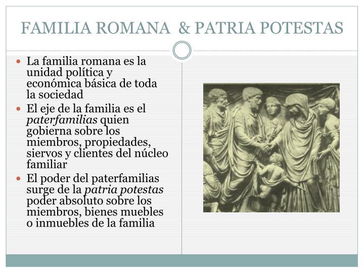 FAMILIA ROMANA  & PATRIA POTESTAS