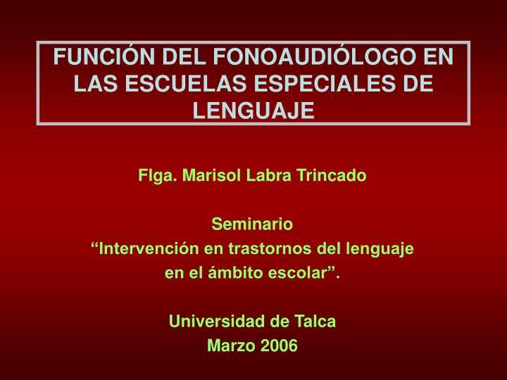 FUNCIÓN DEL FONOAUDIÓLOGO EN LAS ESCUELAS ESPECIALES DE LENGUAJE
