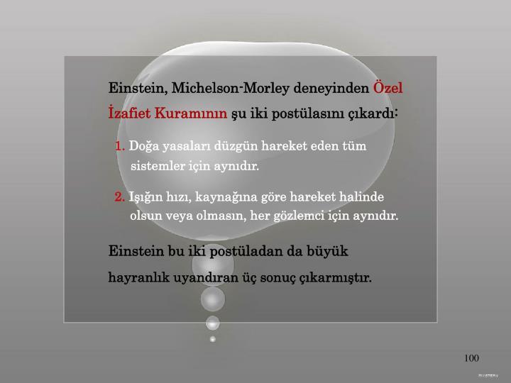 Einstein, Michelson-Morley deneyinden