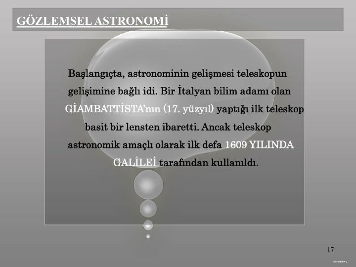 GÖZLEMSEL ASTRONOMİ