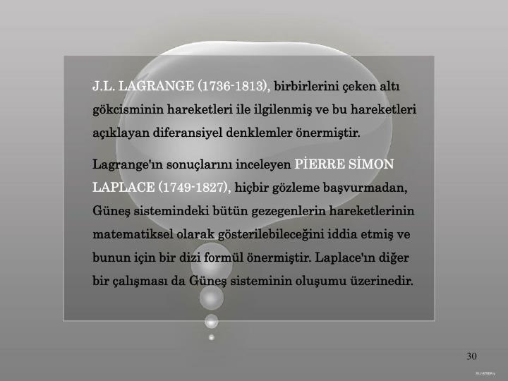 J.L. LAGRANGE (1736-1813),