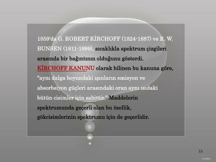 1859'da G. ROBERT KİRCHOFF (1824-1887) ve R. W.