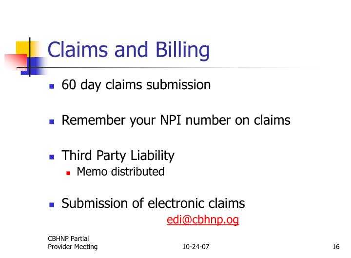 Claims and Billing