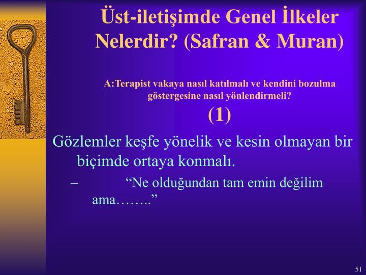 Üst-iletişimde Genel İlkeler Nelerdir? (Safran & Muran)