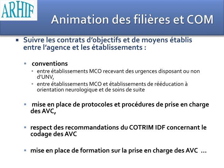Animation des filières et COM