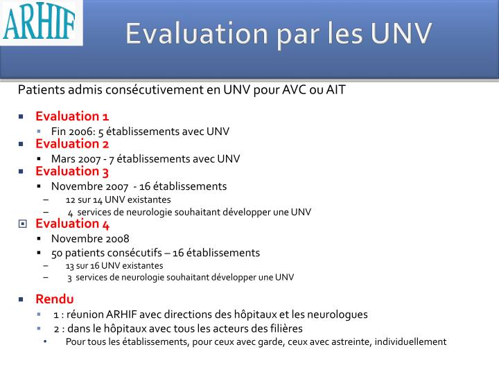 Evaluation par les UNV