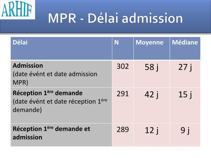MPR - Délai admission
