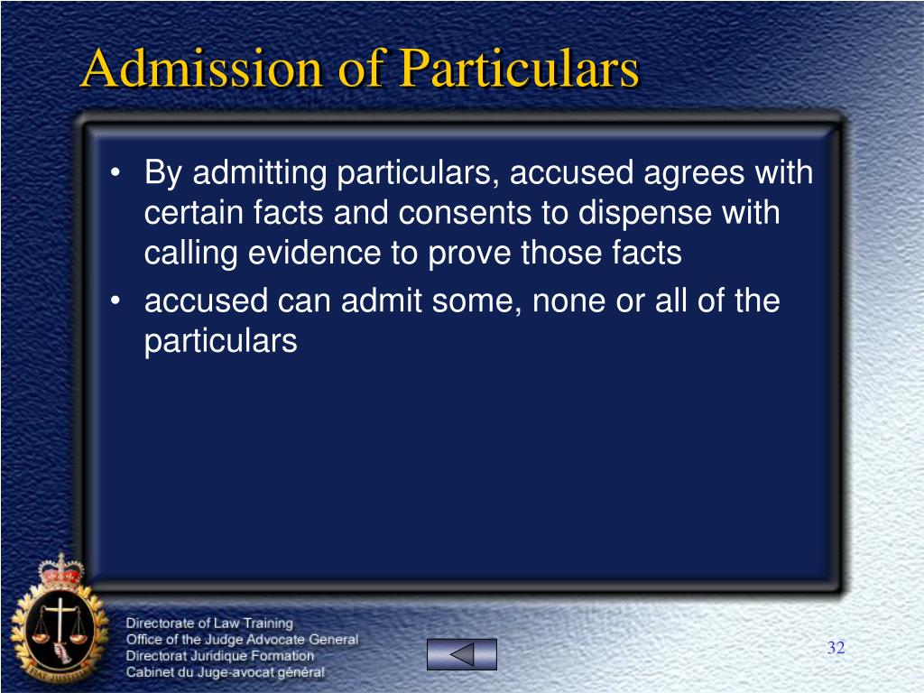 Admission of Particulars