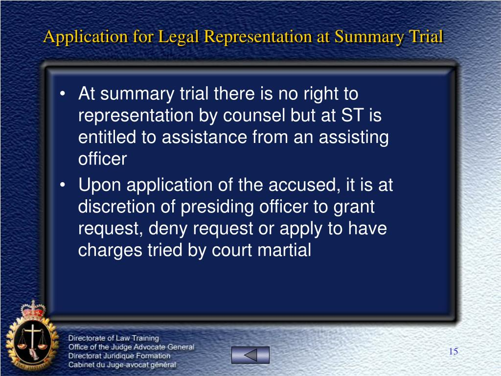 Application for Legal Representation at Summary Trial