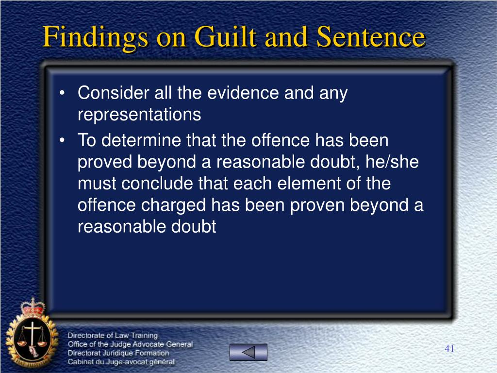 Findings on Guilt and Sentence