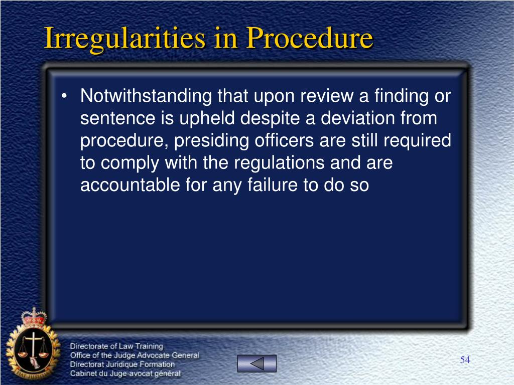 Irregularities in Procedure