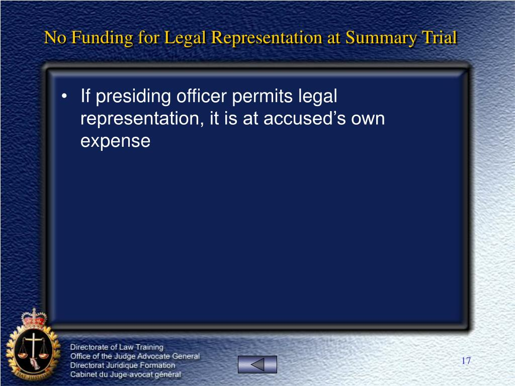 No Funding for Legal Representation at Summary Trial