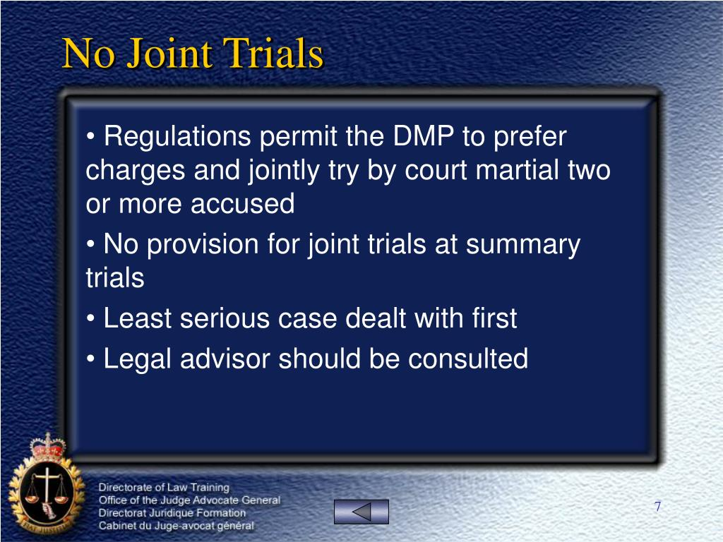 No Joint Trials
