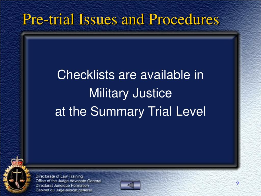 Pre-trial Issues and Procedures
