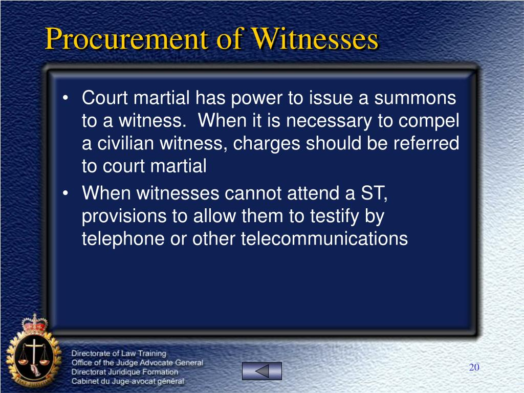 Procurement of Witnesses