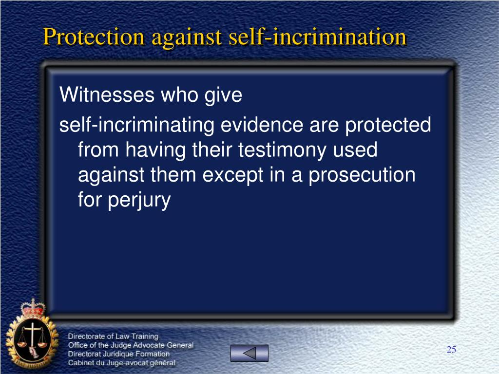 Protection against self-incrimination
