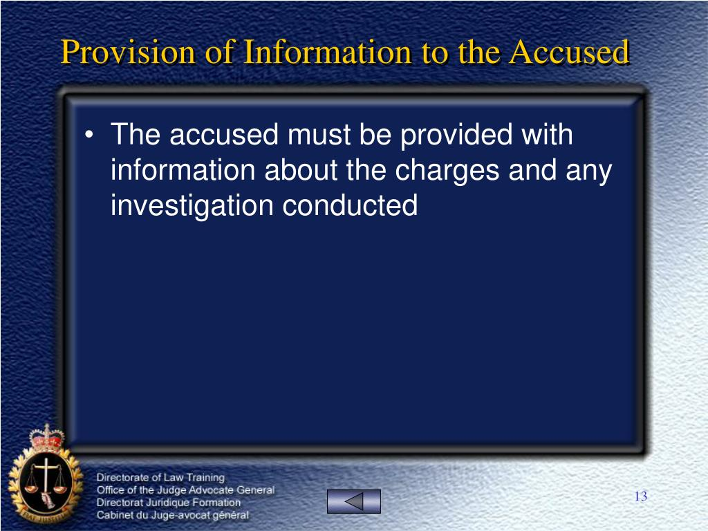 Provision of Information to the Accused