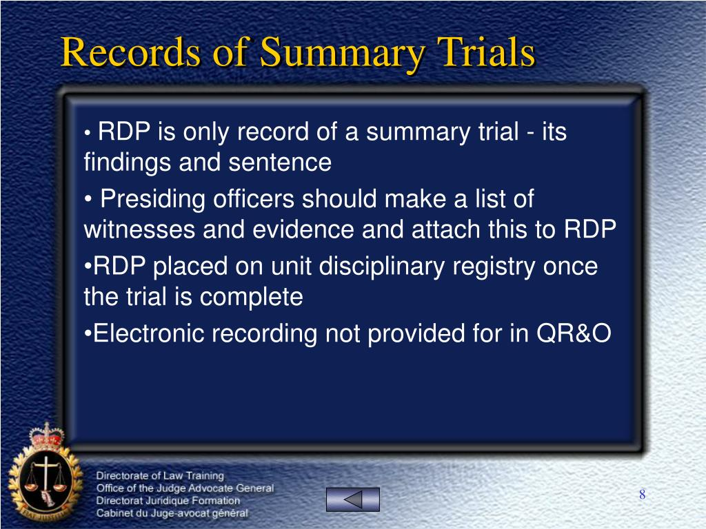 Records of Summary Trials