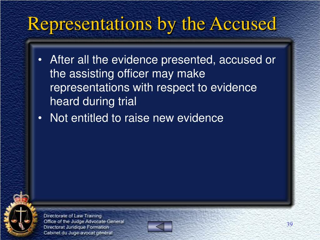 Representations by the Accused