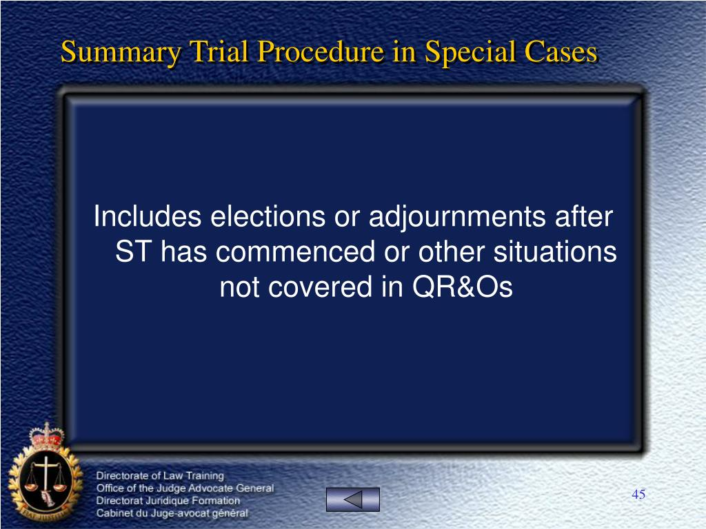Summary Trial Procedure in Special Cases