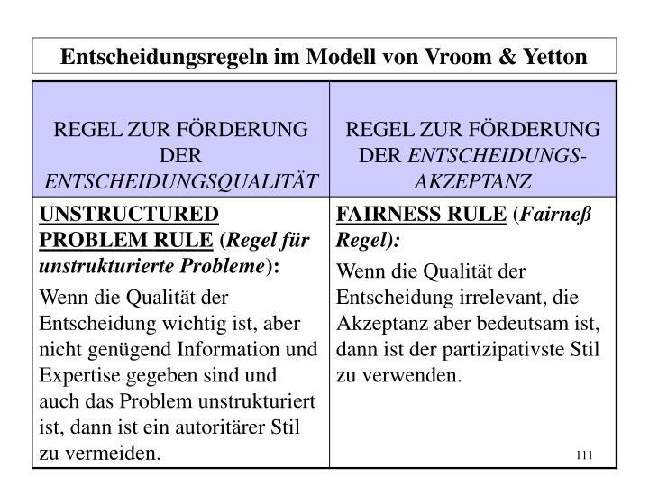 Entscheidungsregeln im Modell von Vroom & Yetton