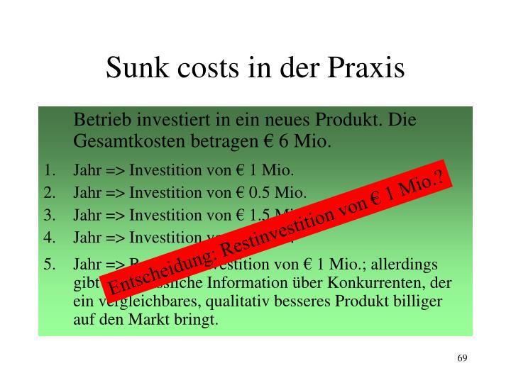Sunk costs in der Praxis