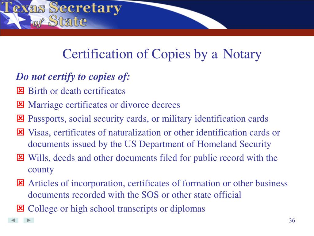 Certification of Copies by a