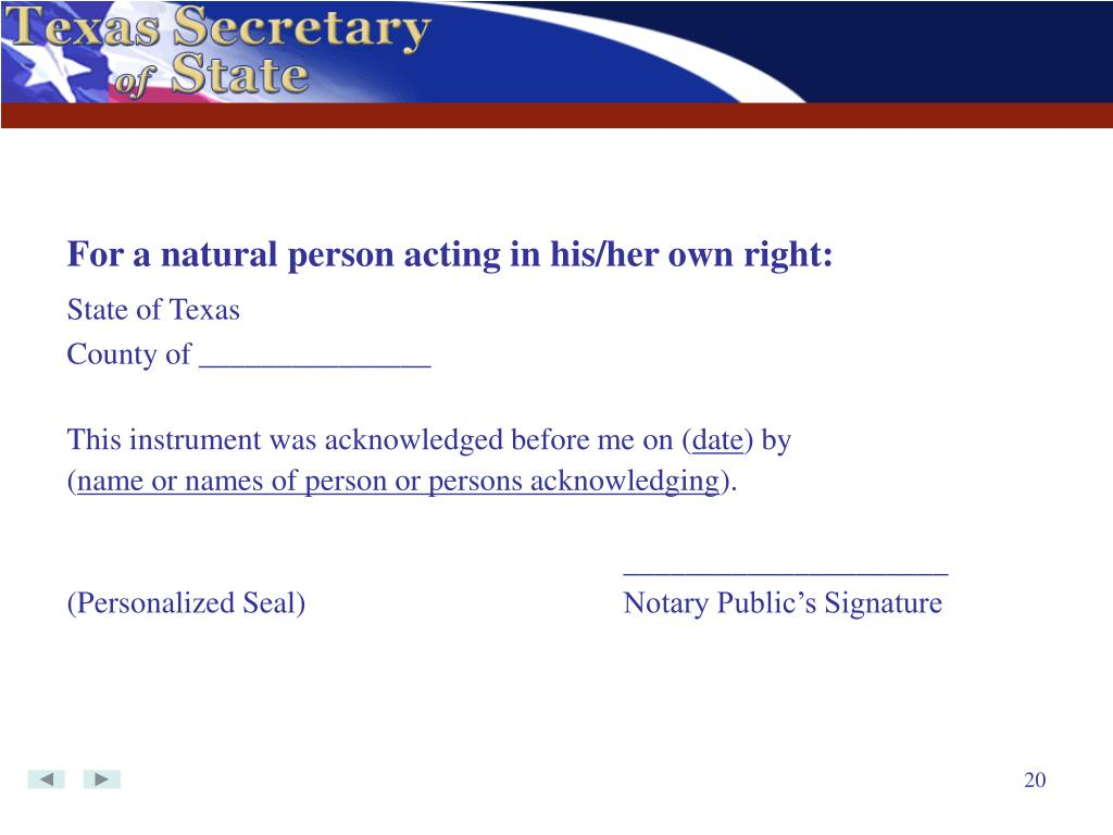 For a natural person acting in his/her own right: