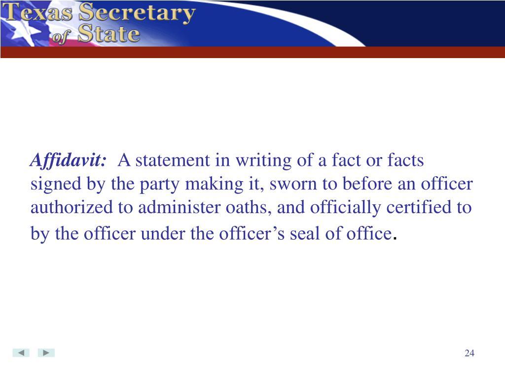Affidavit: