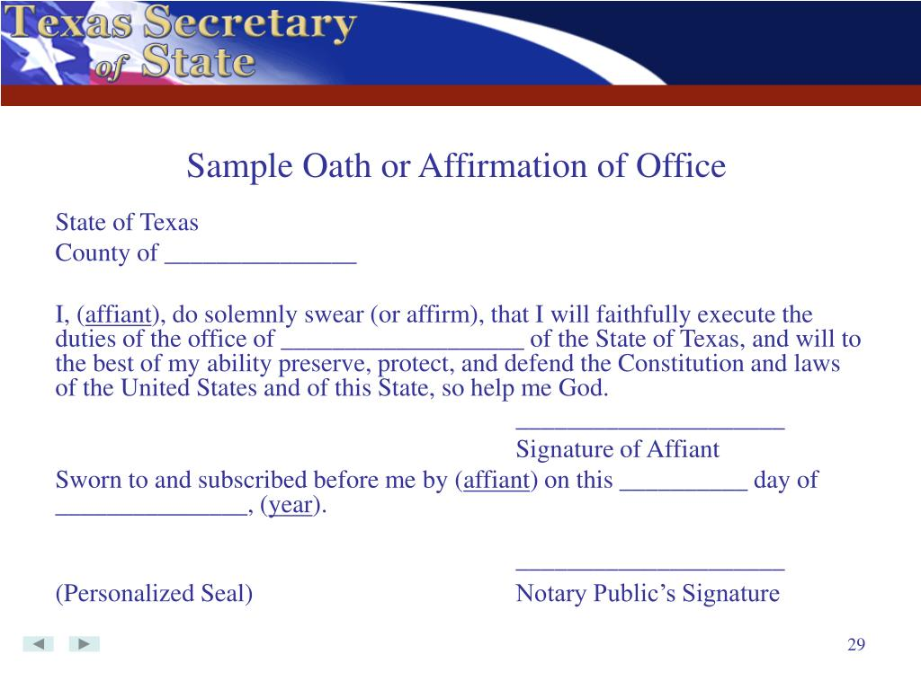 Sample Oath or Affirmation of Office