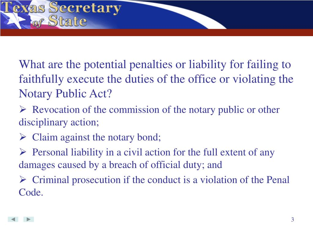 What are the potential penalties or liability for failing to faithfully execute the duties of the office or violating the Notary Public Act?