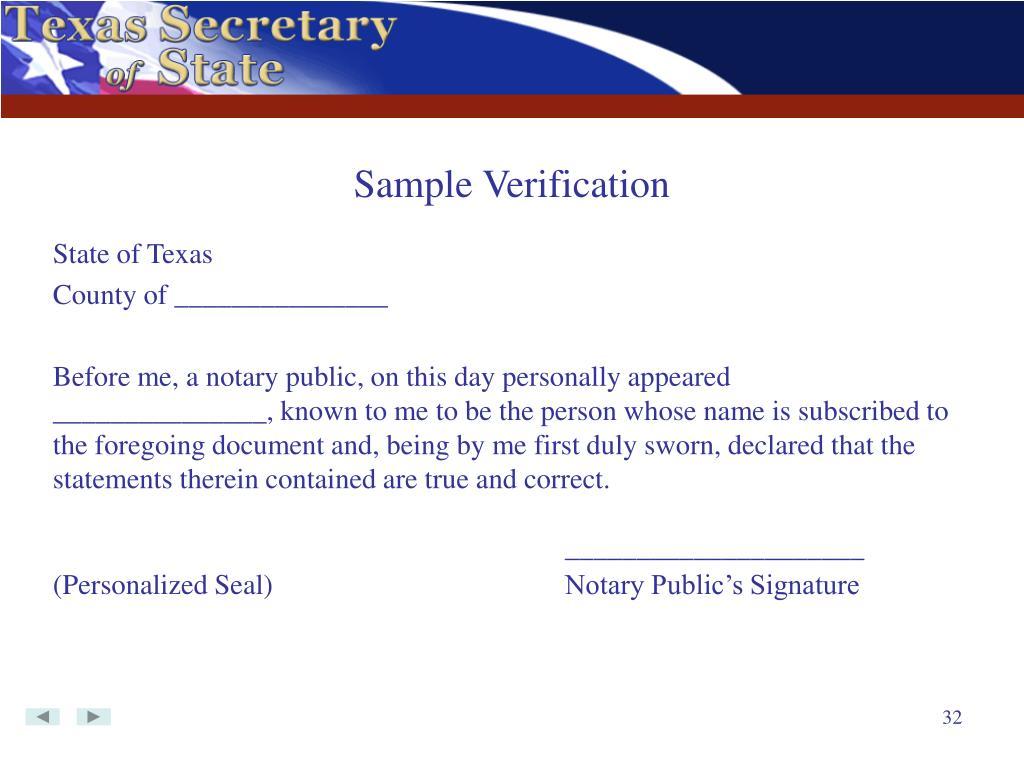 Sample Verification