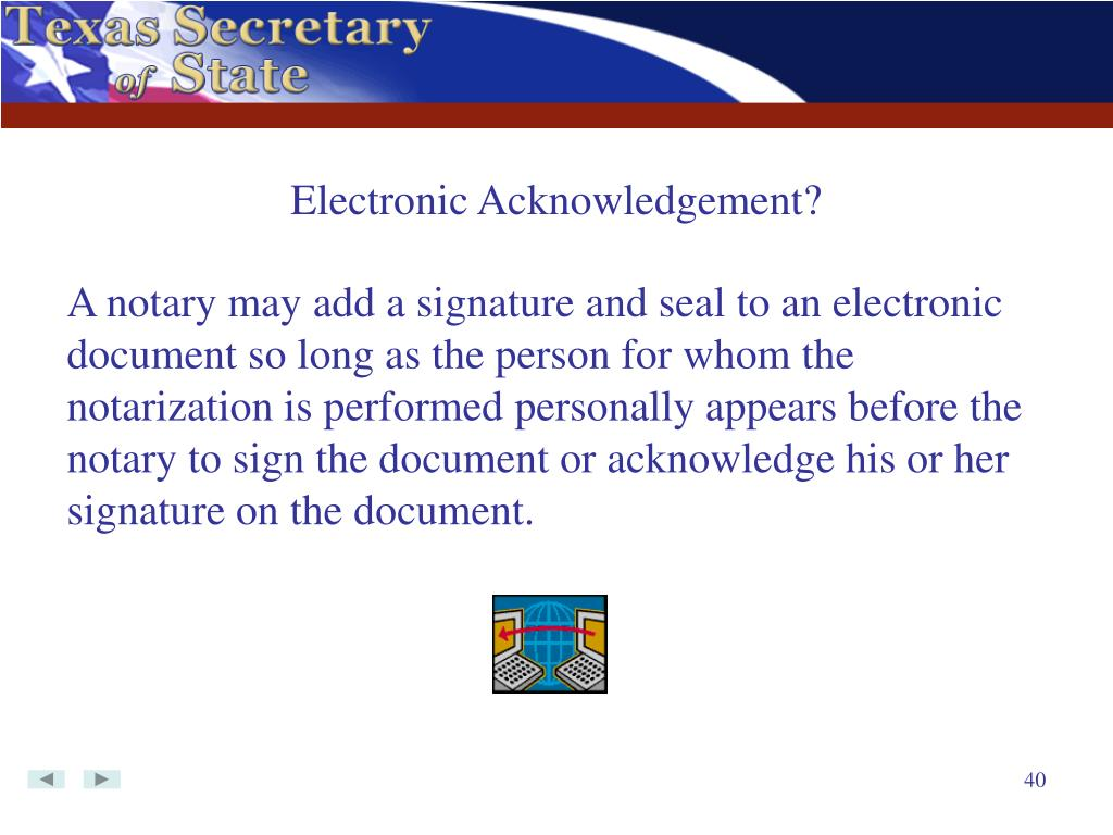 Electronic Acknowledgement?