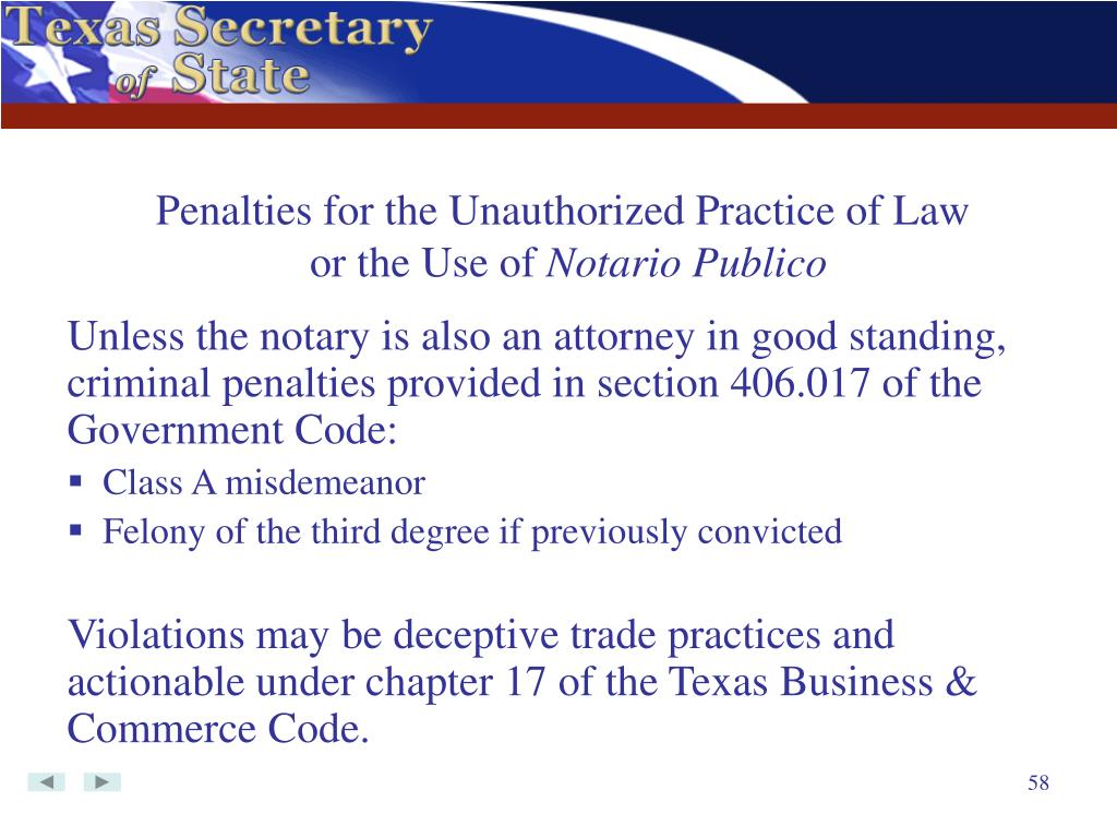Penalties for the Unauthorized Practice of Law
