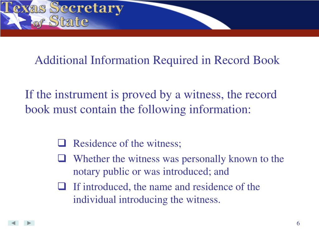 Additional Information Required in Record Book