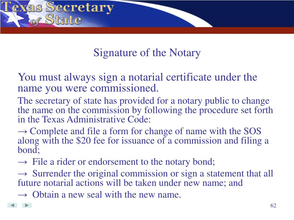 Signature of the Notary