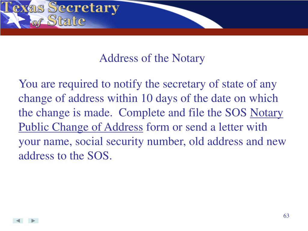 Address of the Notary