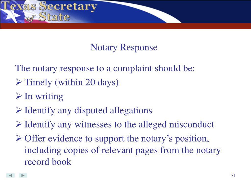 Notary Response